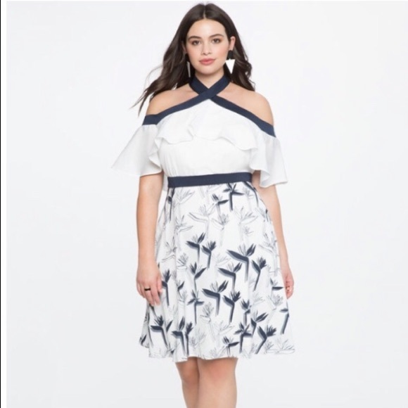 0df45caec85 Eloquii Dresses   Skirts - Eloquii white and Blue summer Dress size 20